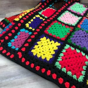 Vintage Crocheted Granny Square Afghan Colorful